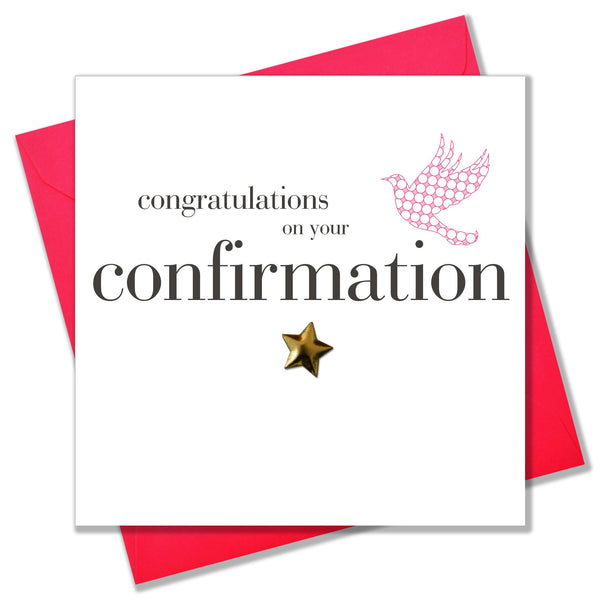 Confirmation Congratulations Card, Pink Dove, Embellished with a padded star