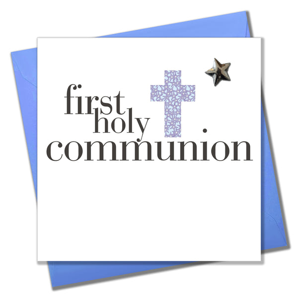 First Holy Communion Card, Blue Cross, Embellished with a shiny padded star