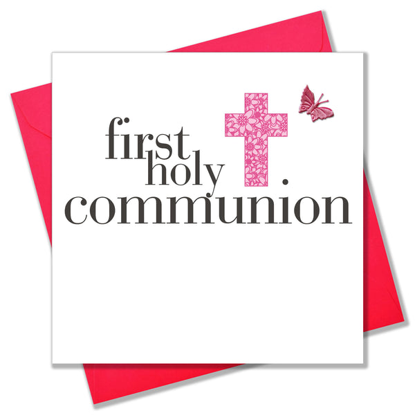 First Holy Communion Card, Pink Cross,  embellished with a fabric butterfly