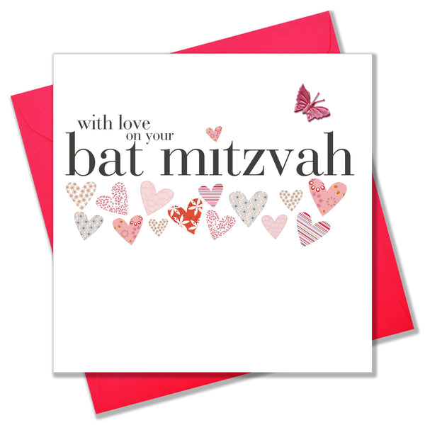 Bat Mitzvah Card, pink hearts, embellished with a pretty fabric butterfly