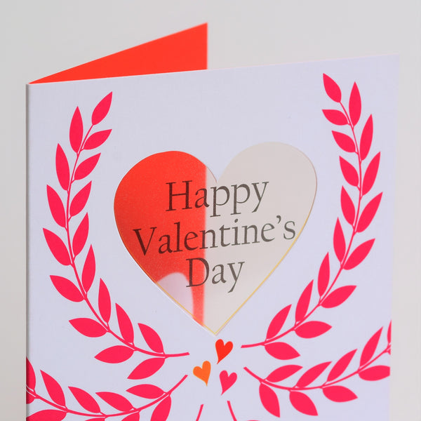 Valentine's Day Card, Crown of leaves, See through acetate window