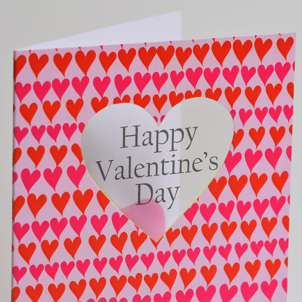 Valentine's Day Card, Pink and Red line of Hearts, See through acetate window