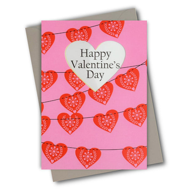 Valentine's Day Card, Heart Flags, See through acetate window