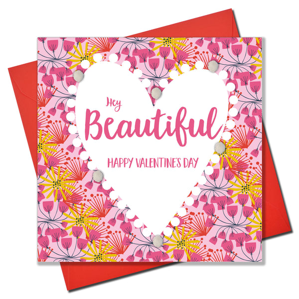 Valentine's Day Card, Heart Pattern, Embellished with colourful pompoms