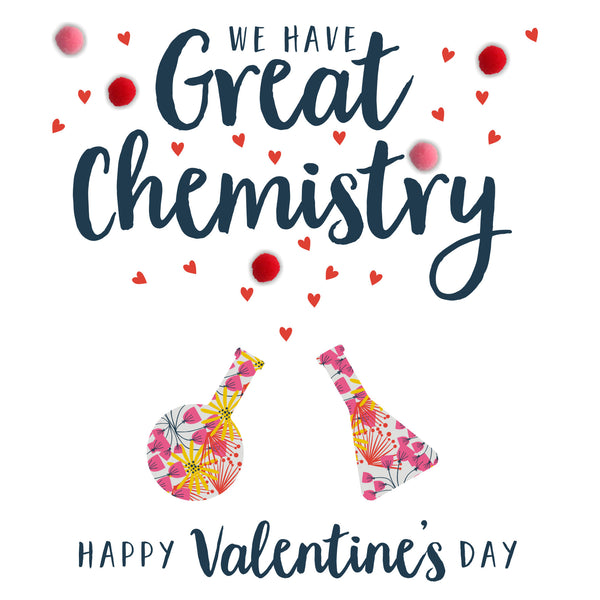 Valentine's Day Card, Great Chemistry, Embellished with colourful pompoms
