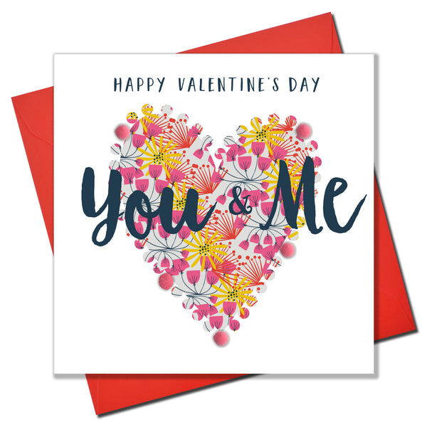 Valentine's Day Card, Pattern Heart, You & Me, Embellished with pompoms