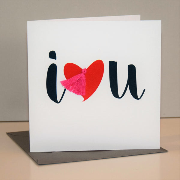 Valentine's Day Card, Love, I heart you, Embellished with a colourful tassel