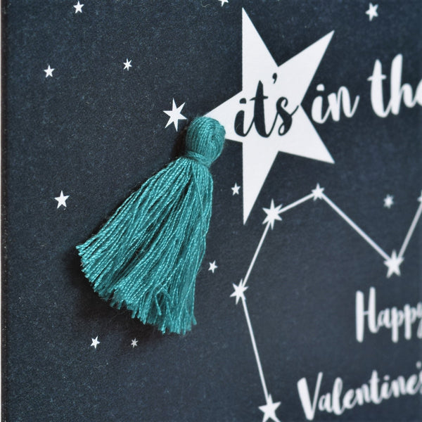 Valentine's Day Card, Heart of Stars, Embellished with a tassel