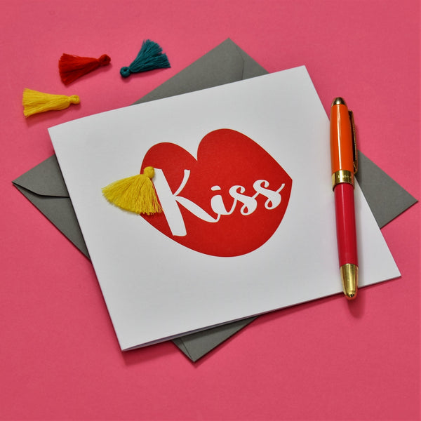 Valentine's Day Card, Lips, Kiss, Embellished with a colourful tassel