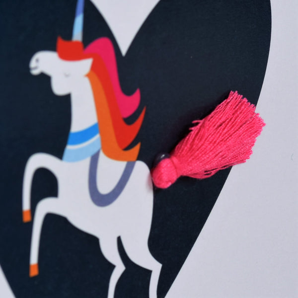 Valentine's Day Card, Heart, be my unicorn, Embellished with a tassel