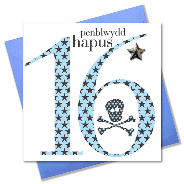 Welsh Birthday Card, Penblwydd Hapus, Age 16 Boy, Embellished with a padded star