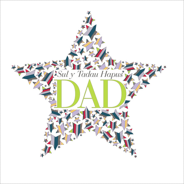 Welsh Father's Day Card, Sul y Tadau Hapus, Dad, Star, With Love on Father's Day
