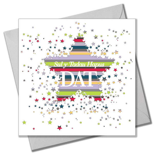 Welsh Father's Day Card, Sul y Tadau Hapus, Dat, Stars for Daddy