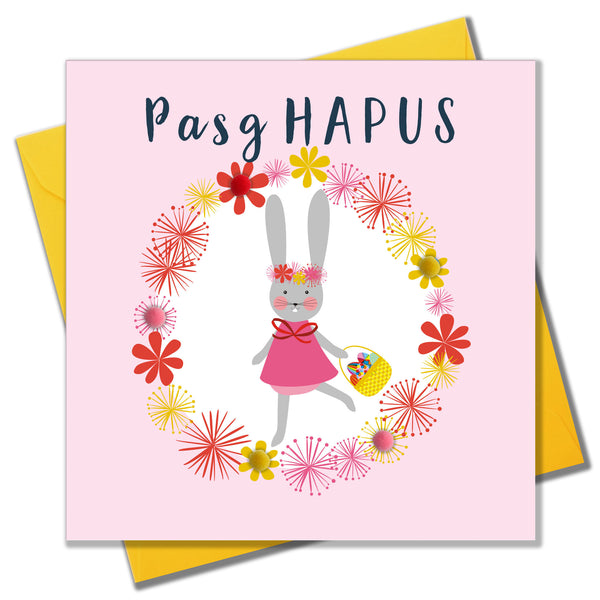 Welsh Easter Card, Pasg Hapus, Bunny Girl, Hoppy Easter, Pompom Embellished