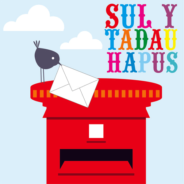 Welsh Father's Day Card, Sul y Tadau Hapus, Bird and Post Box