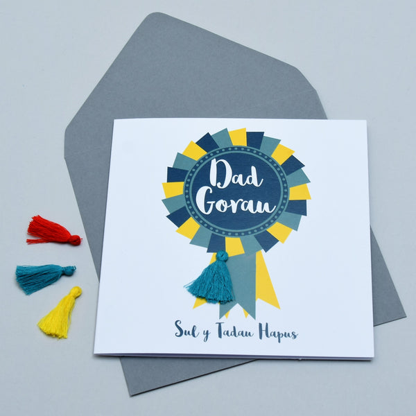 Welsh Father's Day Card, Sul y Tadau Hapus, Rosette # 1 Dad, Tassel Embellished