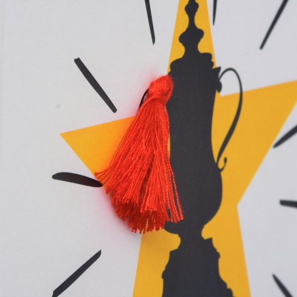 Welsh Father's Day Card, Sul y Tadau Hapus, #BestDad Trophy, Tassel Embellished