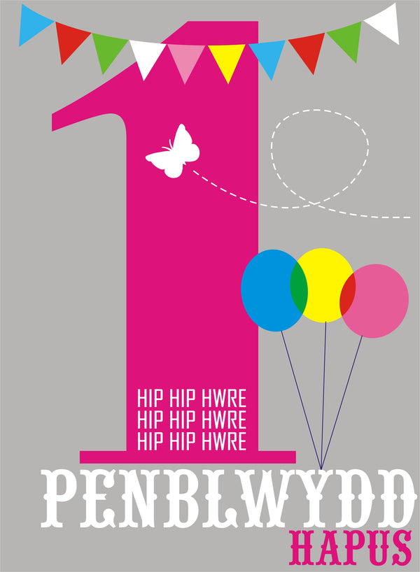 Welsh Birthday Card, Penblwydd Hapus, Pink Age 1, 1st Birthday, Hip Hip Hooray