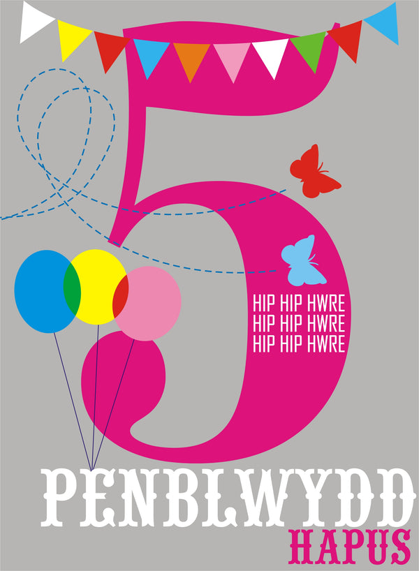 Welsh Birthday Card, Penblwydd Hapus, Pink Age 5, 5th Birthday, Hip Hip Hooray