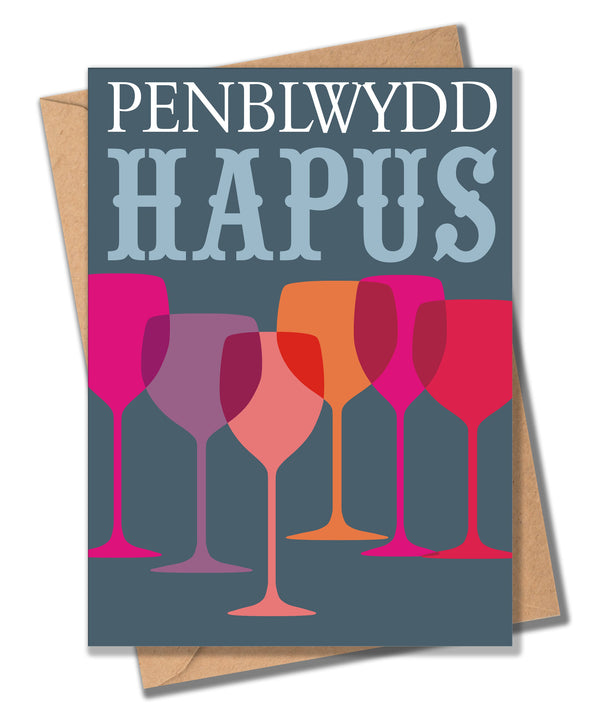 Welsh Birthday Card, Penblwydd Hapus, Glasses, Happy Birthday