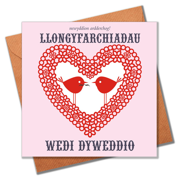 Welsh Wedding Engagement Congratulations Card, Heart and Love Birds