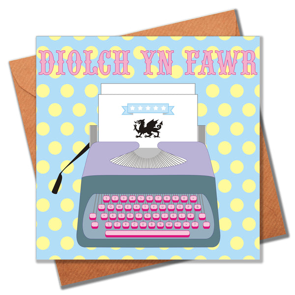 Welsh Thank You Card, Typewriter, Thank You Very Much!