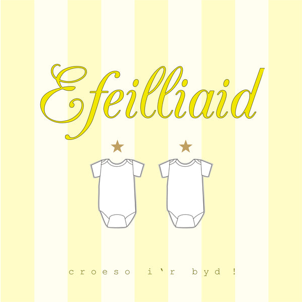 Welsh Baby Card, Yellow Stripes, Hello Baby Twins