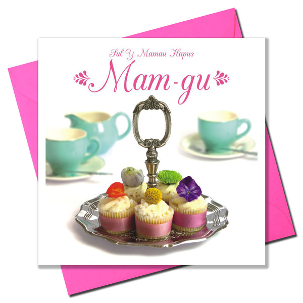 Welsh Grandma Mother's Day Card, Sul y Mamau Hapus Mam-gu, Cakes