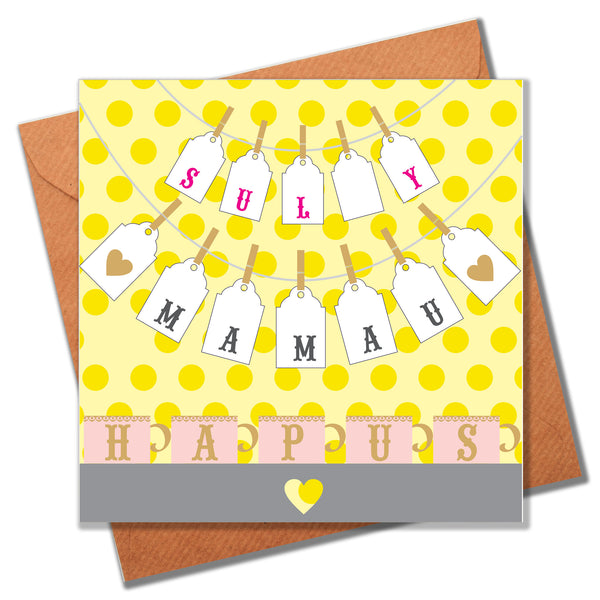 Welsh Mother's Day Card, Sul y Mamau Hapus, Sign of Love, Happy Mother's Day