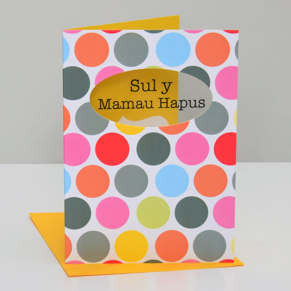 Welsh Mother's Day Card, Sul y Mamau Hapus, Dots, See through acetate window