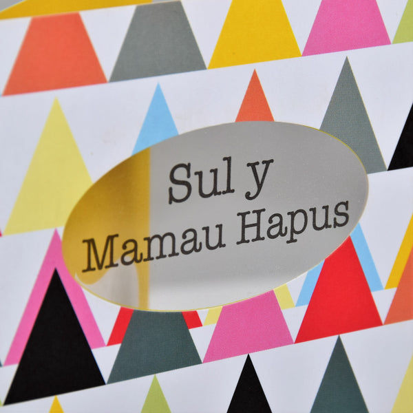 Welsh Mother's Day Card, Sul y Mamau Hapus, Triangle, See through acetate window