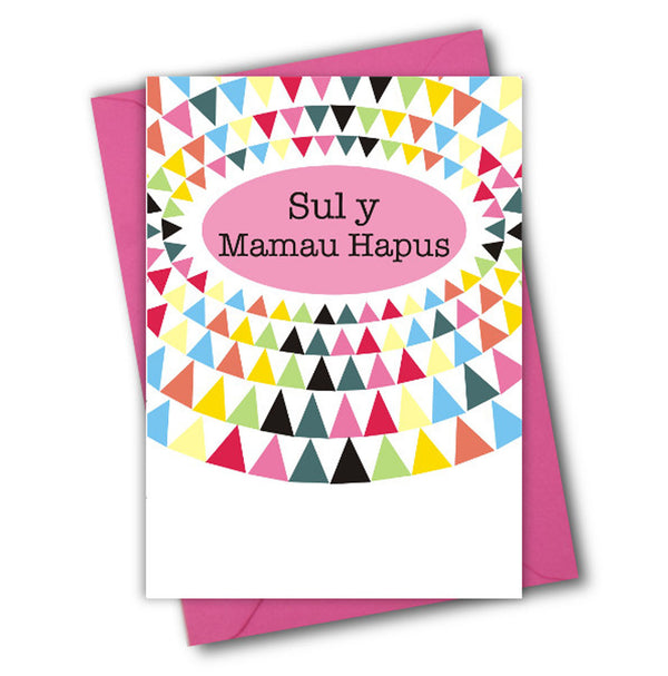 Welsh Mother's Day Card, Sul y Mamau Hapus Triangles, See through acetate window