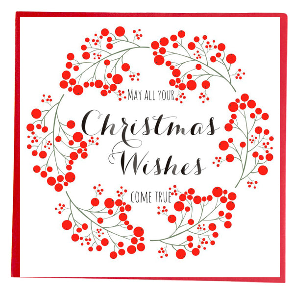 Christmas Card, Wreath of Berries, May all your Christmas Wishes come true