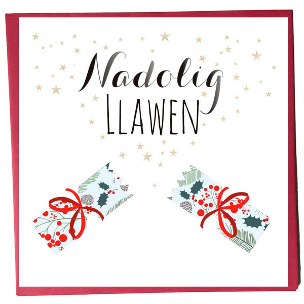 Welsh Christmas Card, Nadolig Llawen, Christmas Cracker, Happy Christmas