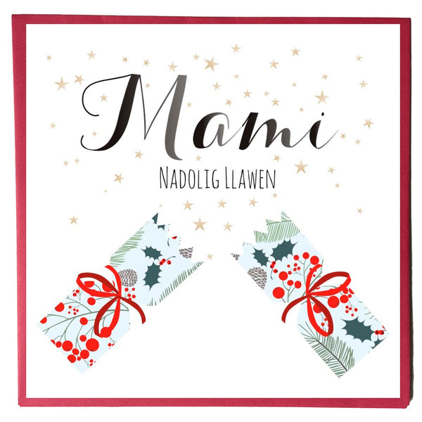 Welsh Christmas Card, Nadolig Llawen, Mami, Mummy, Stars and Cracker