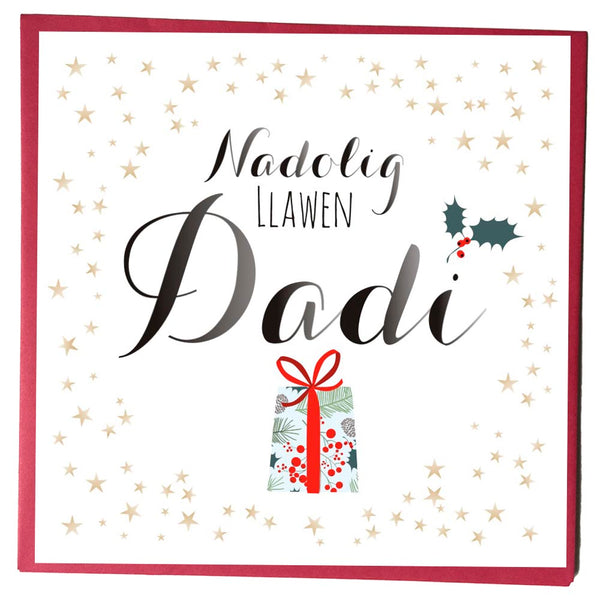 Welsh Christmas Card, Nadolig Llawen, Dadi, Daddy, Stars and Present