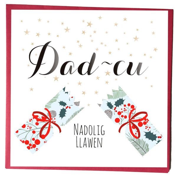 Welsh Christmas Card, Nadolig Llawen, Dad-cu, Papa, Stars and Cracker