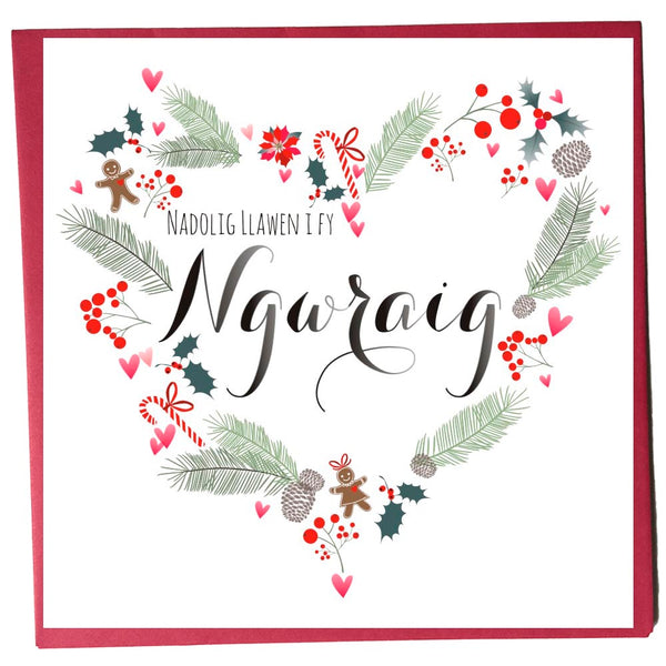 Welsh Christmas Card, Nadolig Llawen, Gwraig, Wife, Heart Wreath