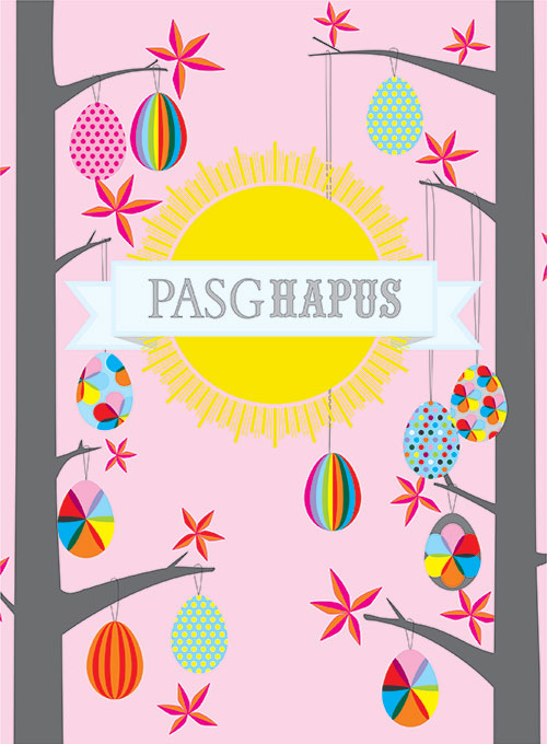 Welsh Easter Card, Pasg Hapus, Forest of Easter Eggs, Happy Easter