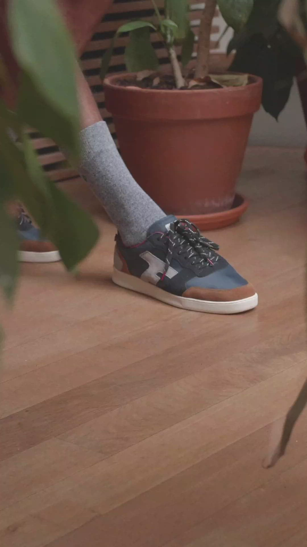 Faguo - Navy and Grey Sneakers in Nylon Suede and Recycled Polyester - Hazel
