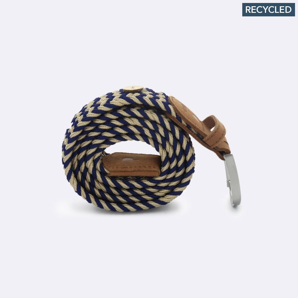 FAGUO belt for men in Recycled Polyester Blue & Beige