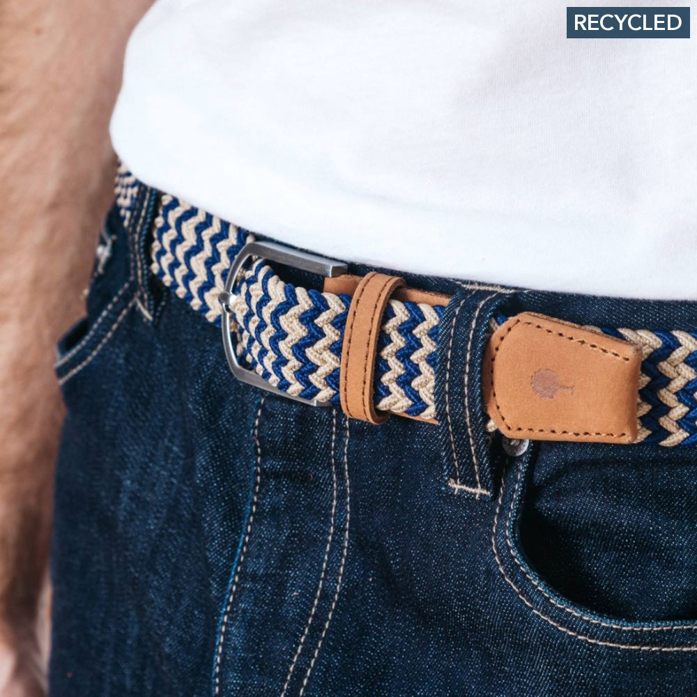 Belt In Canvas And Recycled Polyester Blue & Beige