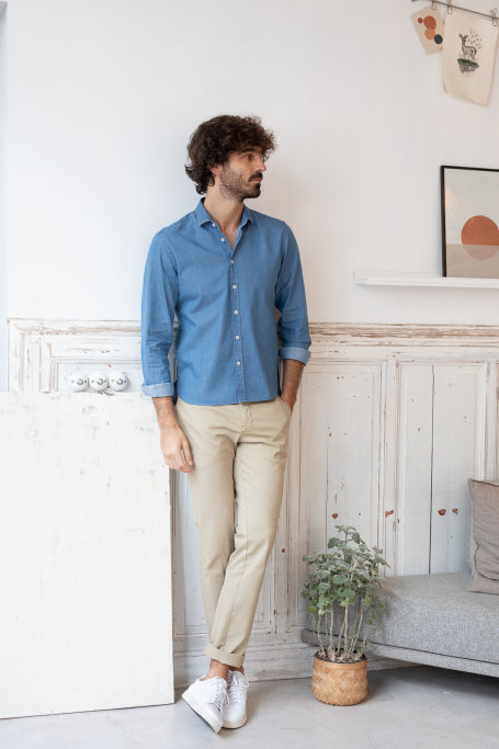 Nice shirt men blue jean on model standing
