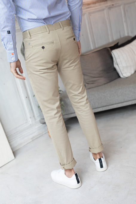 Nice pant for men beige on model back view
