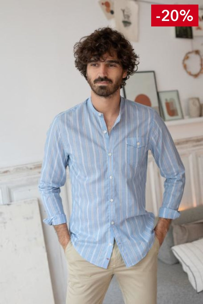 French brand men shirt light blue on model