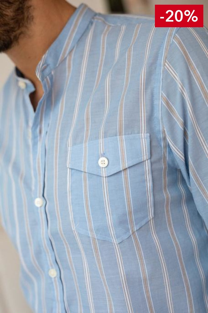 French brand men shirt light blue on model front detail