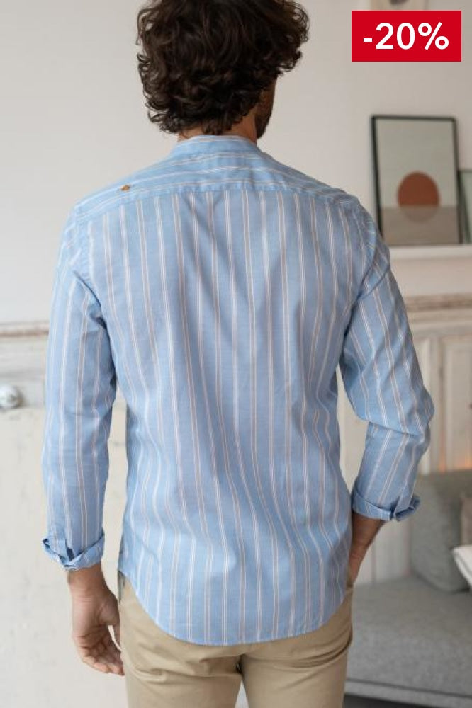 French brand men shirt light blue on model back view