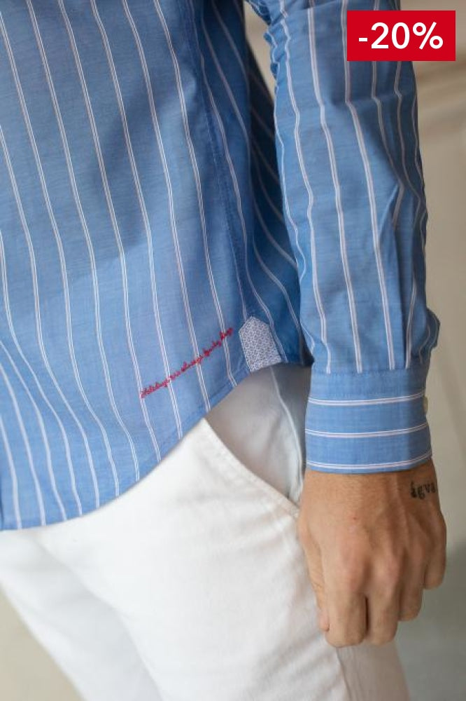 French brand men shirt blue and white on model bottom detail