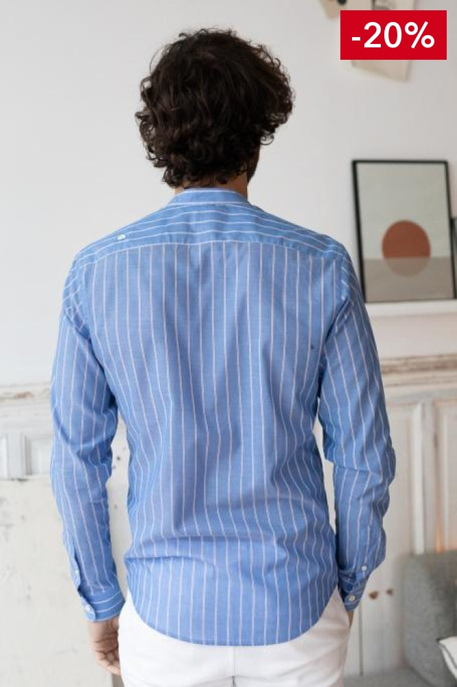 French brand men shirt blue and white on model back view