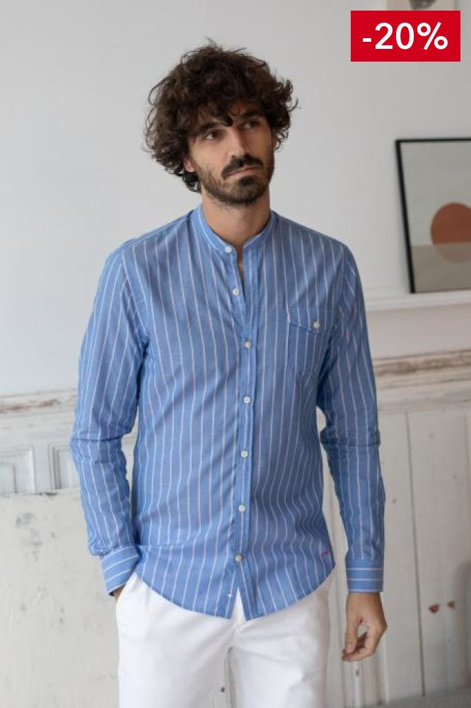 French brand men shirt blue and white on model